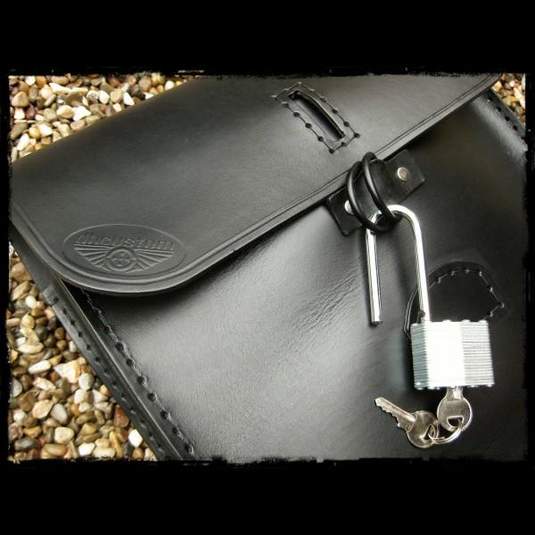 Schwarzes Leder Satteltasche