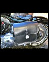Saddlebag Black Leather White thread